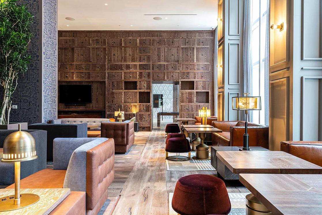 hotel lobby wooden
